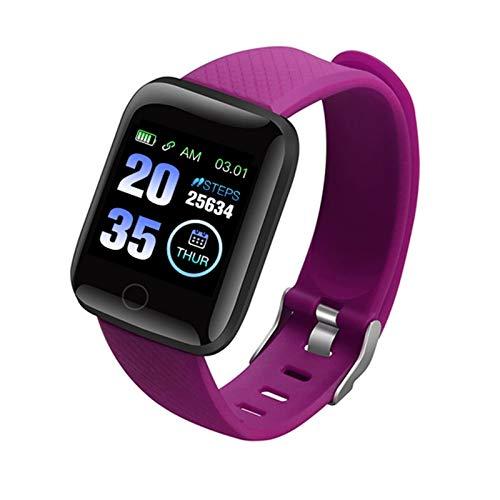 Smart Watch Pulsera Deportes Fitness presión Arterial Ritmo cardíaco Tarifa de la Llamada de la Llamada al recordatorio pedómetro Reloj Inteligente (Color : Purple)