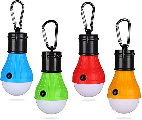 Xaeiow 4 lámparas de camping, resistentes al agua, portátiles, LED, con mosquetón, para camping, aventura, pesca, garaje
