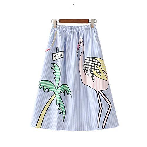 NOBRAND Faldas a Rayas con Estampado de árbol de Coco Dulce para Mujer Faldas Mujer Bolsillos elásticos en la Cintura para Mujer Falda Streetwear a Media Pantorrilla
