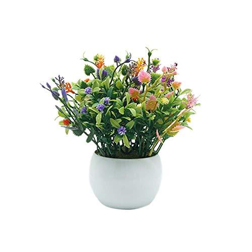 SuperglockT Künstliche Blumen Künstliche Pflanzen Mini Topfpflanzen Künstliche Bonsai Kunstpflanzen Topfpflanzen Kunstgras Ornaments Dekorationen (Bunt)