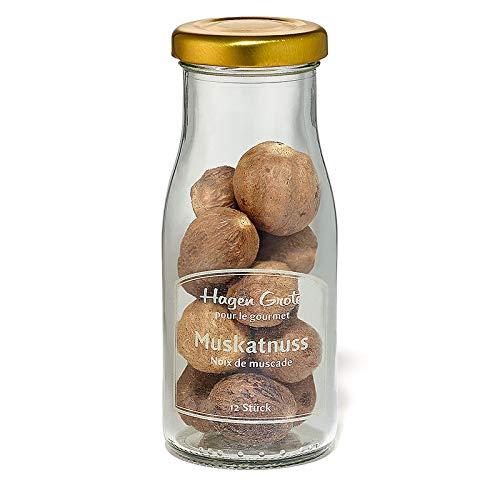Hagen Grote Muskatnuss aus Grenada, 12 Stück, 150 ml Glas, aromageschützt, würzt herzhafte und süße Gerichte sowie Getränke