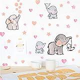 Adorable Elephant Wall Decal, Lovely Family Elephant with Love Heart Stars Wall Sticker, Baby Nursery Bedroom Classroom Decoration