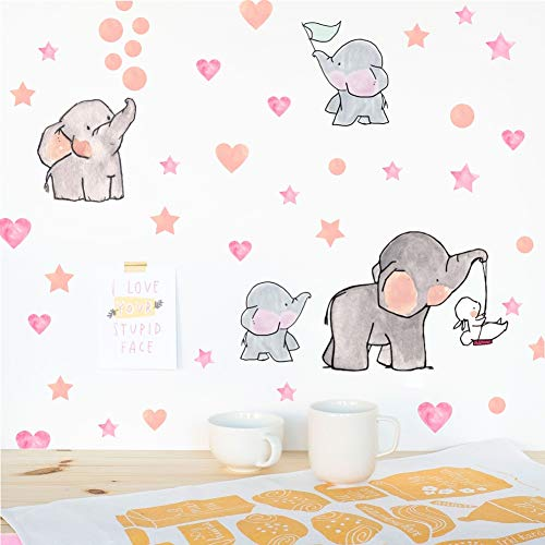 Adorable Elephant Wall Decal, Lovely Family Elephant with Love Heart Stars Wall Sticker, Baby Nursery Bedroom Classroom Decoration