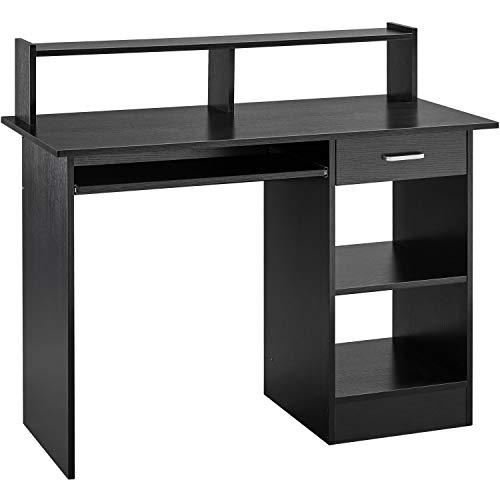 Yaheetech Mesa Escritorio Negra con Soporte de Monitor para Oficina Despacho Mesa de Ordenador de Madera Mesa de Estudio con Cajón Estantes 106 x 50 x 75 cm