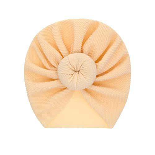 LABIUO 12 Couleurs Style Indien Noeuds Bonnet Bébé, Mode Chapeau Bandeau Turban Noeud Mou Tête Wraps pour Bébé Filles Bonnet Nouveau-Né Tout-Petits pour 0-2 Ans(Beige,Taille Unique)