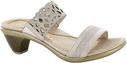 NAOT Footwear Women's Contempo Sandal Quartz Lthr/Beige w/Silver Rivets 8 M US