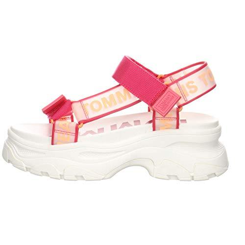 Tommy Jeans Damen Sandalen Pop Color Hybrid Sandal rot (74) 38