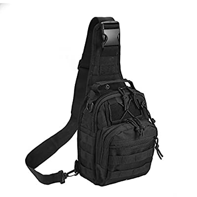 Tactical Shoulder Bag,1000D Outdoor Military Molle Sling Backpack Sport Chest Pack Daypack Bags for Camping, Hiking, Trekking, Rover Sling (Black)