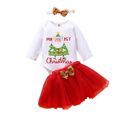 Carolilly - Pelele de red para bebé, 3 unidades, para fiestas de Navidad con impresión de elemento navideño Bianco-alberi 100 cm
