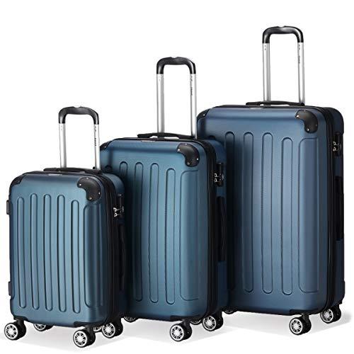 Flexot 2045 3er Reisekoffer Set - Farbe Blau Größe M L XL Hartschalen-Koffer Trolley Rollkoffer Reisekoffer 4 Rollen