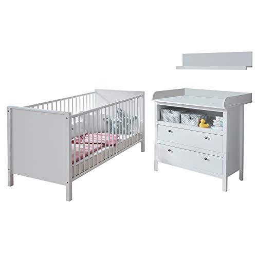 trendteam smart living Babyzimmer 3-teiliges Komplett Set Ole in Weiß mit viel Stauraum und großzügiger Wickelfläche