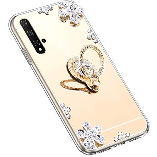 Uposao Kompatibel mit Huawei Honor 20 Hülle Silikon Spiegel Handyhülle Schutzhülle mit 360 Grad Ring Ständer Glitzer Kristall Strass Diamant Mädchen Handy Tasche Silikon Hülle Case,Gold