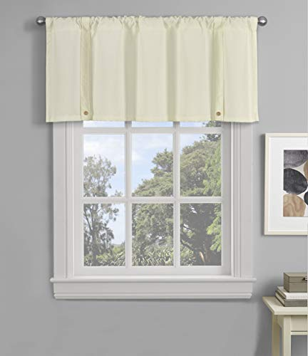 Decohongdi Tie Up Valance for Window Adjustable Rod Pocket Valance Wooden Buttons Kitchen Curtain & Living Room, Kitchen Room, Shrinkage & Easy Care 52 x 20 Inch, 1 PC, Beige