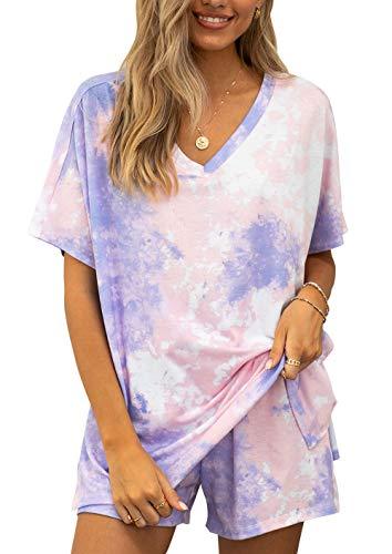 PRETTYGARDEN Women's Leopard Print Two Piece Pajamas Set Short Sleeve Tops With Drawstring Shorts Sleepwear Loungewear Purple