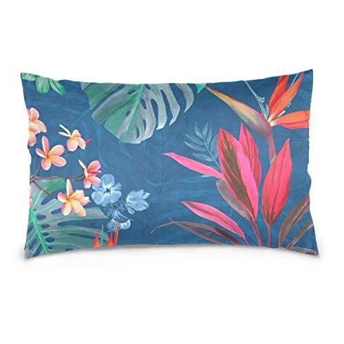 LORONA - Funda de cojín con diseño de palmera tropical y flores florales, funda de almohada de lino para decoración del hogar, funda de cojín con cremallera invisible para sofá y cama de 20 x 36 pulgadas
