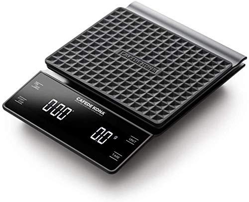 Elektronische weegschaal, elektronische keukenweegschaal, digitale keukenweegschaal, multifunctionele voedingsmiddelschaal, wit-LED HD chronograaf-functie, nauwkeurigheid 3 kg, 0,1 g, anti-slip ontwerp, kleur: zwart