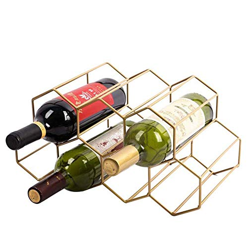 Yzbtj Metal Wine Storage Holder, 7 Bottle Wine Holder Rack Stand Space Saver Protector Countertop Free Stand Wine Rack for Red & White Wines, Gold