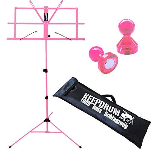 keepdrum MUS2 PK Notenständer Notenpult für Kinder Rosa Pink mit Tasche + 2 Stück Magnete Pink