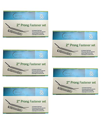 50 per Box by Olympx 2 Inch Capacity Prong Paper Fastener Set Pack of 5 Boxes 2.75 Inch Base