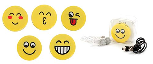 Lote de 20 MP3 Emoticonos en Caja de Regalo (Incluye Cable + Cascos) Presentado en Cajita de Regalo. Regalos, Detalles para Bodas, Comuniones Infantiles, Niños, Adolescentes. MP3 radios