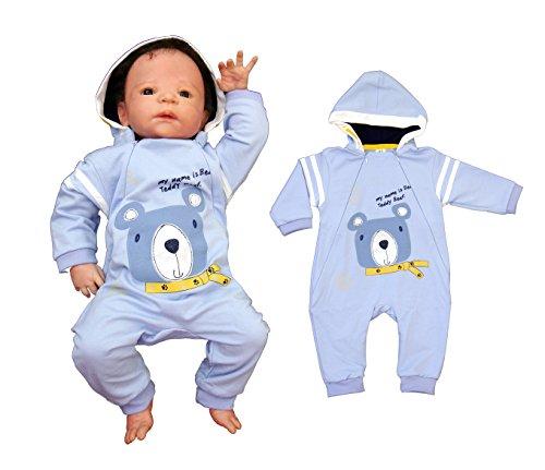 Baby Strampler mit Kapuze Sommeroverall Bärchen (62, blau)