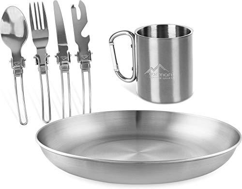 normani Outdoor-Geschirr Set aus Teller, Tasse und 5-teiligem Besteck mit Flaschen und Dosenöffner aus Edelstahl - Outdoor, Camping, Reise Farbe Silber