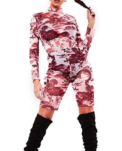 Dames Mesh gaas perspectief Sexy Jumpsuit gepersonaliseerde landschap inkt schilderij Print playsuit