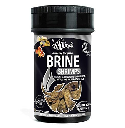 Haquoss Brine Shrimps Mangime Naturale Liofilizzato in Artemia Salina per Pesci Tropicali d'Acqua Dolce e Marina, 100 ml/8 gr