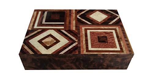 """Joyero de madera con incrustaciones 24x17 cm""""Diseño cuadrado natural"""""""