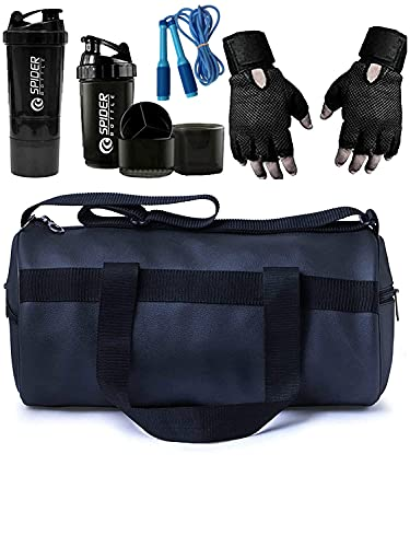 YES1GOOD Combo of Duffle Gym Bag with Side Pocket,Gym Gloves with Wrist Support, Spider Shaker Bottle and Skipping Rope Fitness Kit
