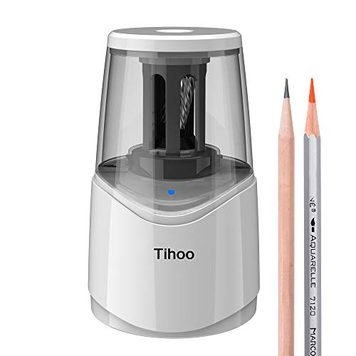 Tihoo Rechargeable Electric Pencil Sharpener, Helical Steel Blade with USB Operated, Automatic Heavy Duty Portable for NO.2/ Colored Pencils (6-8mm) for Kids, Teacher, Student, Art, Office Use (White)