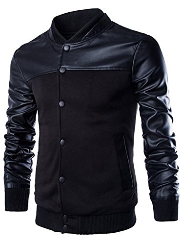 Neleus Men's Stand Collar Leather Sleeves Slim Fit Jacket,0205# Black,US M,Asia 2XL