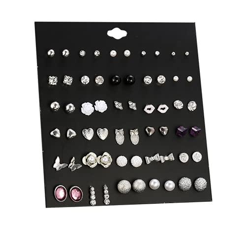 30 pares de varios pendientes, Pares Surtidos de múltiples aretes de joyería Conjunto con Tarjeta para Mujeres niñas Simple aro Conjunto de Pendientes, Búho / Mariposa / Diamante / Perla