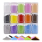[16.5 Pound] Art Sand/Scenic Sand Non-Toxic Colored Sand for Kids' Arts & Crafts, Sand Play DIY Drawing Sandbox Wedding Sand for Decorations and Crafty Collection Sand Bottles (15 Bottles)