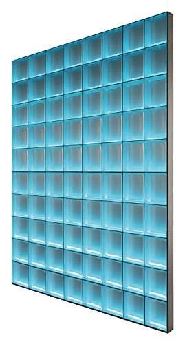Fuchs Design Light My Wall® beleuchtete Glassteinwand 156x195 cm - DIY - Riva Klar glänzend Klar 19x19x8 cm Beleuchtung Bunt (Farbwechsel) - Aluminium satiniert - Raumteiler Duschwand