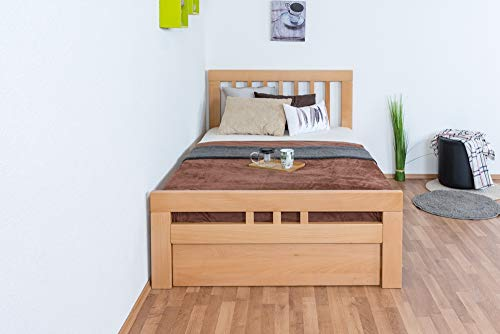 Einzelbett/GästebettEasy Premium Line K8 inkl. 1 Abdeckblende, 120 x 200 cm Buche Vollholz massiv Natur