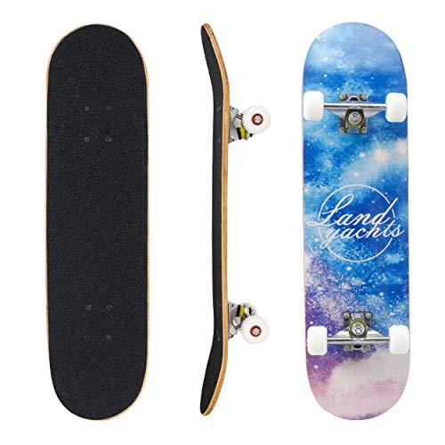 Geelife Skateboard 7 Layers Decks 31'x8' Pro Complete Skate Board Maple Wood Longboards for Teens Adults Beginners Girls Boys Kids (Universe)