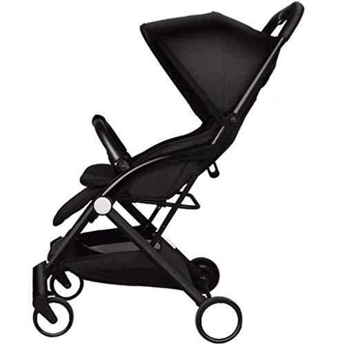 Bebé al Aire Libre Strolr Baby Strolr Strolr Choque Ligero Puede Sentarse RECLINIZADOR Coche de bebé Plegable Puede Estar en el Plano de Bolsillo del avión Paisaje Alto (Color: Negro) BJY969