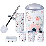 HOMEACC Flower and Bird Bathroom Accessories Set of 6,with Toothbrush Holder,Toothbrush Cup,Soap Dispenser,Soap Dish,Toilet Brush Holder,Trash Can,Plastic Bathroom Set for Home and Bathroom