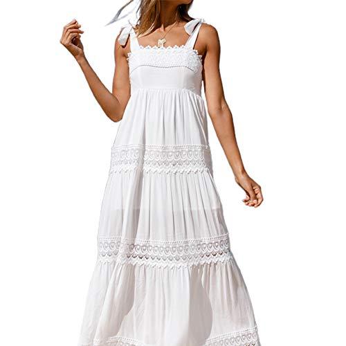 MAHUAOYIXI Vestito Estivo Lungo da Donna Abito Elegante Senza Maniche con Le Spalline in Pizzo Copricostume Spiaggia Mare (Bianco, S)