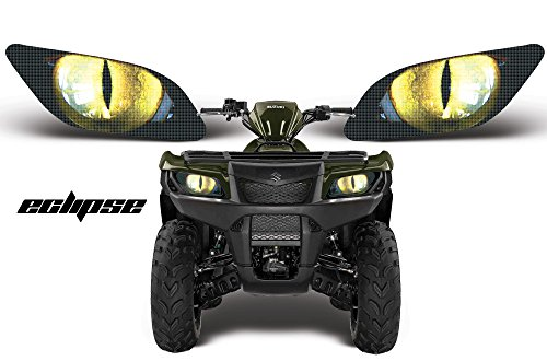 AMR Racing ATV Headlight Eye Graphics Decal Cover Compatible with Suzuki King Quad 500 AXi 2013-2015 - Eclipse Yellow