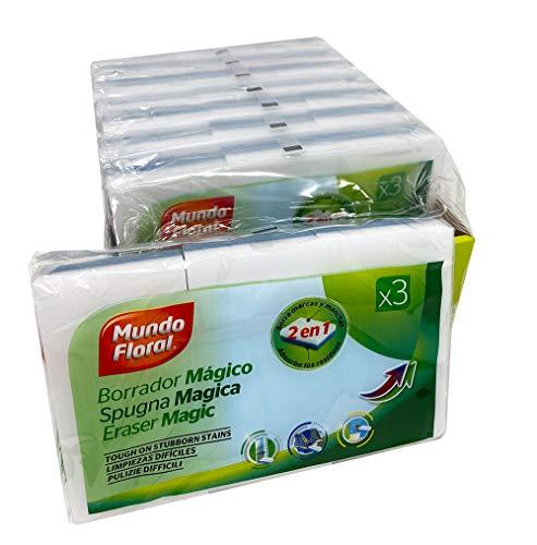 Mundo Floral. Esponja mágica borra manchas. Caja 24 esponjas para limpiar suciedad incrustada en paredes, zapatillas, muebles, etc