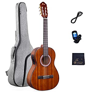 WINZZ 36 Inches 3/4 Size Nylon-string Classical Electric Travel Acoustic Guitar for Beginners Students Kids Build-in Pickup Kit Set