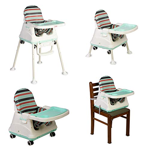 LuvLap 4in1 High Chair for Baby/Kids, Toddler Feeding Booster Seat with Wheels, 3 Height adjustments, with Cushion, 6 Month to 3 Years, Portable (Blue)