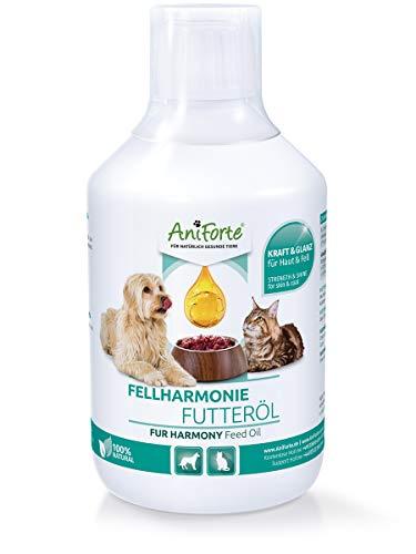 AniForte Fellharmonie Futteröl für Hunde & Katzen 500ml - Natürliche Fellpflege für seidig glänzendes Fell, Vitales Hautkleid, Haut und Vitalität, Reich an Omega 3 und Omega 6 Fettsäuren