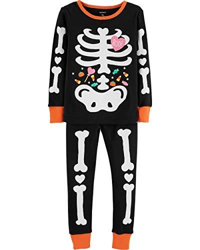 Carter's Girls Halloween Skeleton Snug Fit Glow-in-The-Dark Costume Pajamas Pjs (24M)