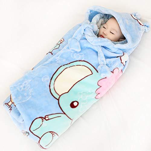 FREEDL Arrullo Bebé Recien Nacido con Capucha Manta Envolvente, Súper Suave Cobertores para Bebés con Patrón De Animales, Manta Cálido para Dormir para El Bebé para 0-24 Meses 90cm Vistoso,Azul