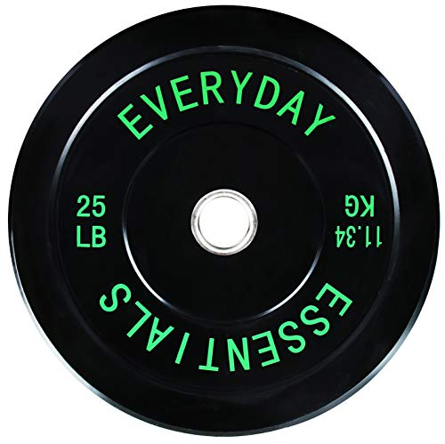 BalanceFrom Everyday Essentials Color Coded Olympic Bumper Plate Weight Plate Steel Hub, Black