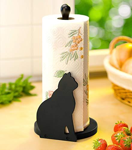 WENKO Papierrollenhalter Katze Papierrolle Katzenmotiv Holz Katze Küche