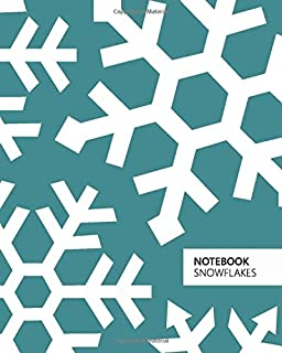 Notebook Snowflakes: (Christmas Sea Green Edition) Fun notebook 192 ruled/lined pages (8x10 inches / 20.3x25.4 cm / Large ...